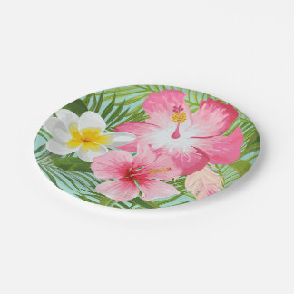 Tropical Flowers 7 Inch Paper Plate