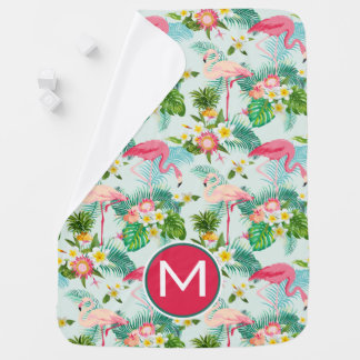 Tropical Flowers And Birds | Add Your Initial Baby Blanket