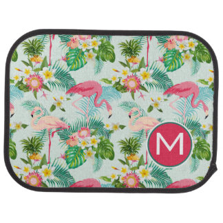 Tropical Flowers And Birds | Add Your Initial Car Mat