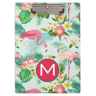 Tropical Flowers And Birds | Add Your Initial Clipboard