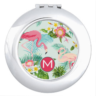 Tropical Flowers And Birds | Add Your Initial Compact Mirrors
