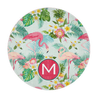 Tropical Flowers And Birds | Add Your Initial Cutting Board