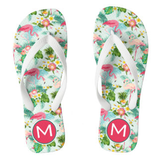 Tropical Flowers And Birds | Add Your Initial Flip Flops