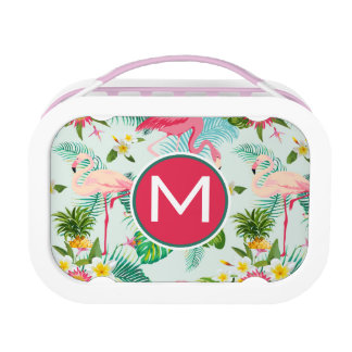 Tropical Flowers And Birds | Add Your Initial Lunch Box