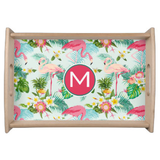 Tropical Flowers And Birds | Add Your Initial Serving Tray