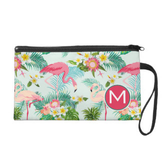 Tropical Flowers And Birds | Add Your Initial Wristlet