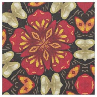 Tropical Flowers And Butterflies Mandala Fabric