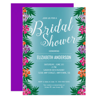 Tropical Flowers and Palm Branches Bridal Shower 13 Cm X 18 Cm Invitation Card