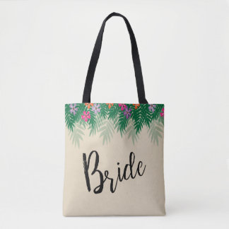 Tropical Flowers and Palm Branches Bride Tote Bag