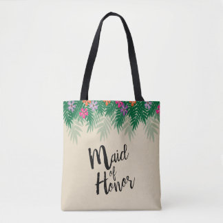 Tropical Flowers and Palm Branches Maid of Honor Tote Bag