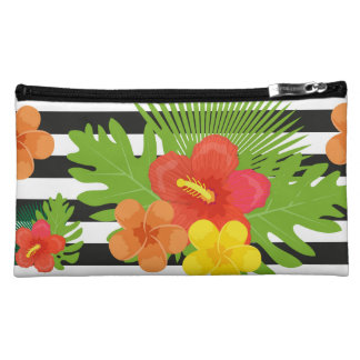 Tropical flowers and skin are animal. Summer Makeup Bag