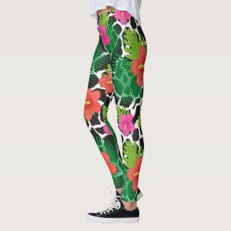 Tropical flowers and skin are animal. Summer patte Leggings