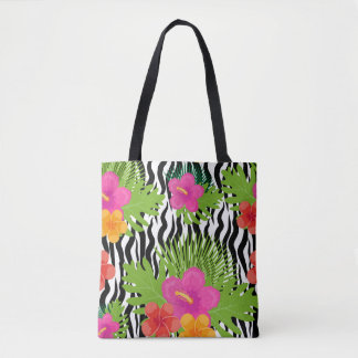 Tropical flowers and skin are animal. Summer Tote Bag