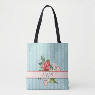 Tropical Flowers Aqua/Coral Personalized Tote Bag
