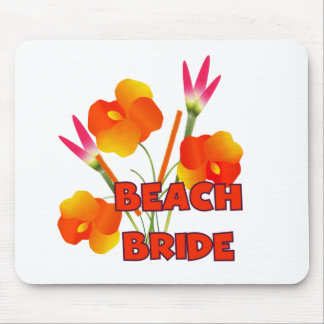 Tropical Flowers Beach Bride Mouse Pad