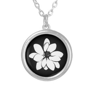 Tropical Flowers Black and White Round Pendant Necklace