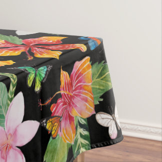 Tropical Flowers Black Tablecloth