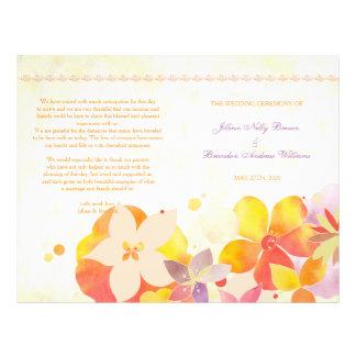 Tropical Flowers Boho Wedding Bi Fold Program 21.5 Cm X 28 Cm Flyer