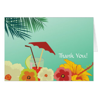 Tropical Flowers Bridal Shower Thank You Card