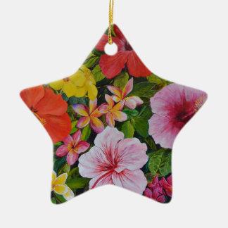 Tropical Flowers Ceramic Star Decoration