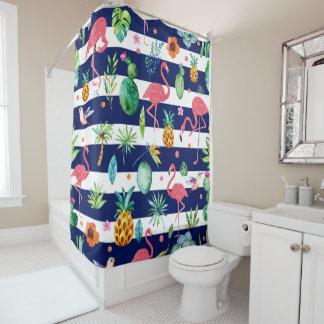 Tropical Flowers & Flamingos Blue & White Stripes Shower Curtain