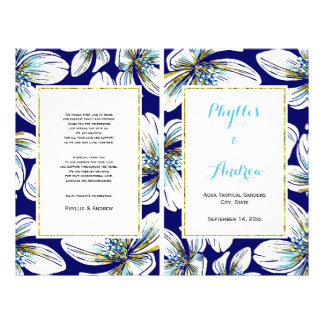 Tropical flowers folded wedding program flyer