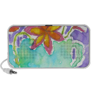 Tropical Flowers in Blue Pitcher iPhone Speakers