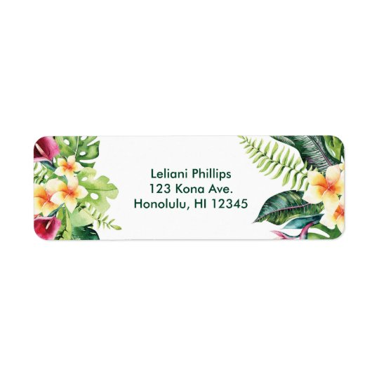 Tropical Flowers Leaves Floral Bridal Shower Party