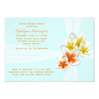 "Tropical Flowers Light Blue Bridal Shower Invites 5"" X 7"" Invitation Card"
