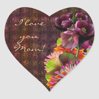 Tropical Flowers Mother's Day Bouquet Heart Sticker