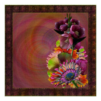 Tropical Flowers Mother's Day Bouquet Poster