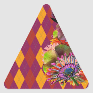 Tropical Flowers Mother's Day Bouquet Triangle Sticker