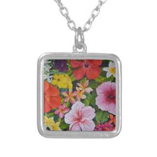 Tropical Flowers Personalized Necklace