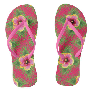 Tropical Flowers on Fuchsia Flip Flops