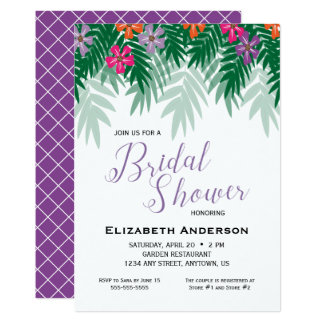 Tropical Flowers & Palm Branch Bridal Shower Card
