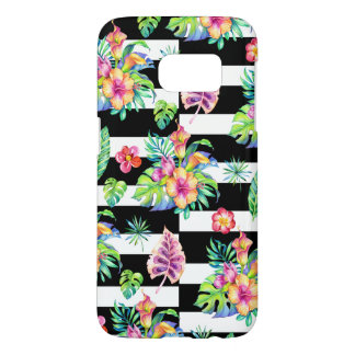 Tropical Flowers Pattern &  White Stripes