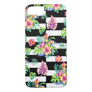 Tropical Flowers Pattern &  White Stripes GR2 iPhone 7 Case