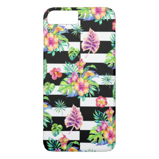 Tropical Flowers Pattern &  White Stripes iPhone 8 Plus/7 Plus Case