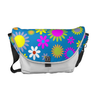 Tropical Flowers, Petals - Pink Green Blue Yellow Commuter Bag