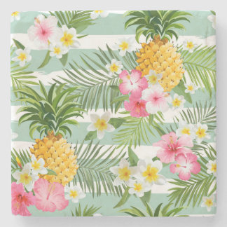 Tropical Flowers & Pineapple On Teal Stripes 2 Stone Coaster