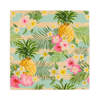 Tropical Flowers & Pineapple On Teal Stripes 2 Wood Coaster