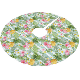 Tropical Flowers & Pineapple On Teal Stripes Brushed Polyester Tree Skirt