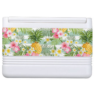 Tropical Flowers & Pineapple On Teal Stripes Igloo Cool Box