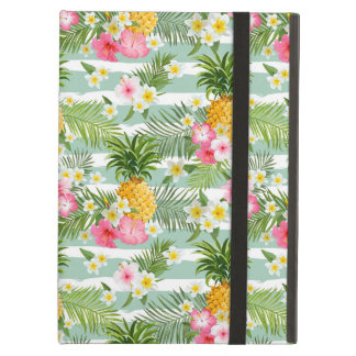 Tropical Flowers & Pineapple On Teal Stripes iPad Air Cases