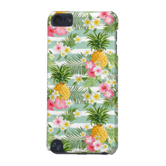 Tropical Flowers & Pineapple On Teal Stripes iPod Touch (5th Generation) Case
