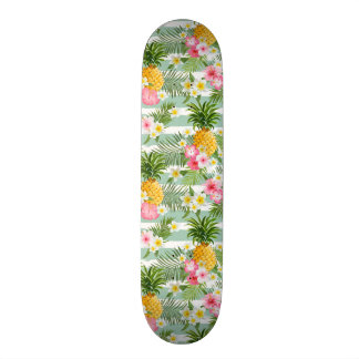 Tropical Flowers & Pineapple On Teal Stripes Skate Board Deck
