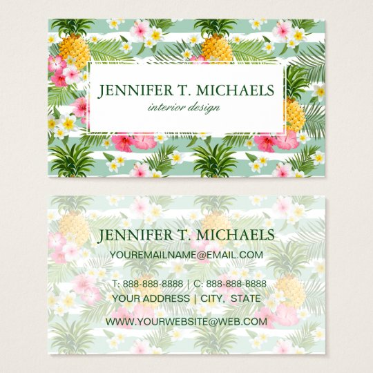 Tropical Flowers & Pineapple Stripes | Add  Name Business Card