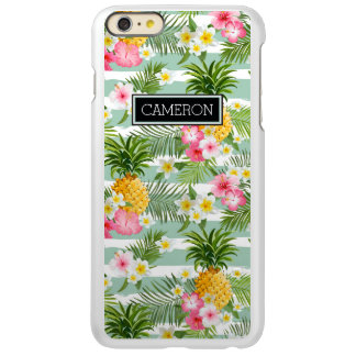 Tropical Flowers & Pineapple Stripes | Add  Name iPhone 6 Plus Case