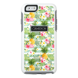 Tropical Flowers & Pineapple Stripes | Add  Name OtterBox iPhone 6/6s Case