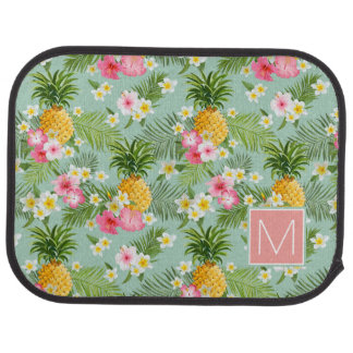 Tropical Flowers & Pineapples | Add Your Initial Car Mat